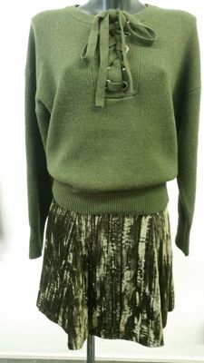 Enrico Coveri jumper and skirt set in cotton velvet