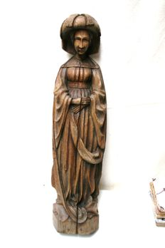 Oak statue of a Burgundian noble lady - Bruges region - Belgium - 19th century