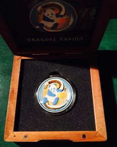 China - 10 Yuan 2014 'Dragon Panda' coloured and gilded - 1 oz  Silver