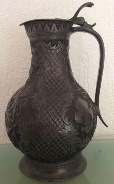 Antique wine jug, tin, likely from Bavaria - 19th century