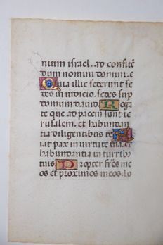 Manuscript; Illuminated hand-written leaf from a medieval book of hours - 14th century