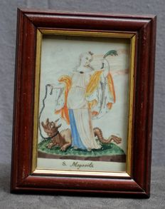Good quality watercolour with S. Mrgarita with the dragon - Belgium 17th 18th century