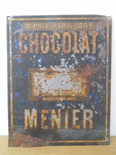 Metal sign for Chocolat Menier for the Expo 1889 - Paris.