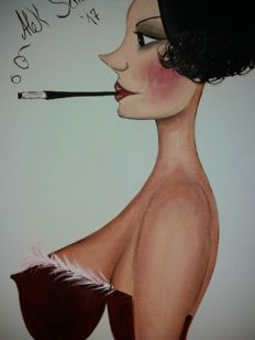 Original artwork; Alek Sander - Madame Cohiba with cigarette holder - 2017
