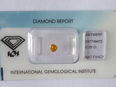 Natural fancy INTENSE Yellowish Orange   diamond 0.33ct  with IGI certificate