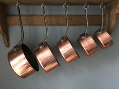 Professional tinned copper saucepans