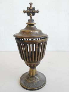 Beautiful antique altar lamp holder, votive, with crucifix, ca. early 20th century