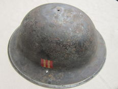 Fine used British MkII 1940 dated helmet shell with unknown unit's decal plate