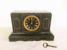 Antique black marble table clock - working and with its original key - 1850s