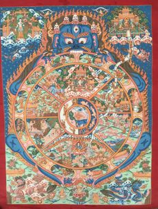 Thangka painting, Wheel of Life - Tibet/Nepal - late 20th century