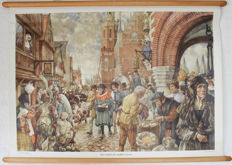 Two school posters - a city in the middle ages - In the time of trekschuit and diligence