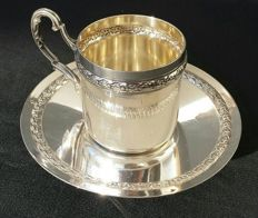 Lovely sterling silver cup and saucer, 950/1000, Minerva's head 1st grade hallmark + silversmith's mark: Ravinet d'Enfert & Cie  Paris