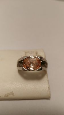 Silver ring (925/1000) with citrine quartz – Size: 18 – No reserve