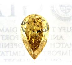2.07 ct IGI Natural Fancy Deep Yellow Diamond - Pear Cut