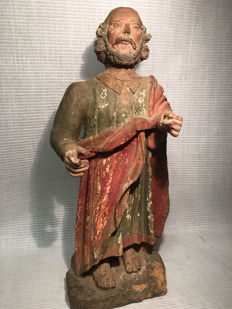 Polychrome wooden Saints image - probably Spanish colonial - 18th century