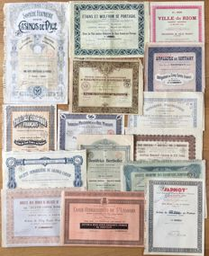 France - lot of n. 15 historical dekò shares from the French stock market  (Soc. Fermière des Casino de Nice and others) from 1902 to 1931
