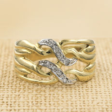 18 kt yellow gold – Cocktail ring – Zirconias – Inner ring diameter: 16.85 mm (approx.)