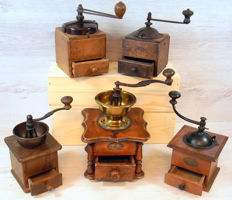 Five antique lap coffee grinders