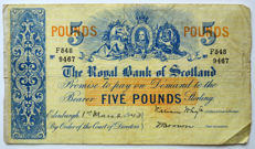 Scotland - The Royal Bank of Scotland - 5 Pound 1943 - Pick 317c