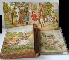 Antique wooden blocks puzzle and jigsaw puzzle chromolithograpy