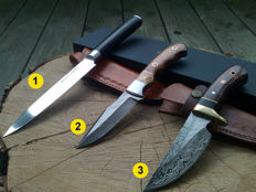 1 x Authentic Damascus Steel kitchen knife - 18 cm blade + 2 Damascus Steel hunting knife/outdoor/camping knives + 100 ml Camellia care oil