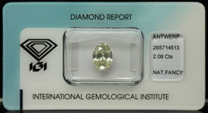 2.08 ct. Natural Fancy light Yellow Diamond - LOW RESERVE