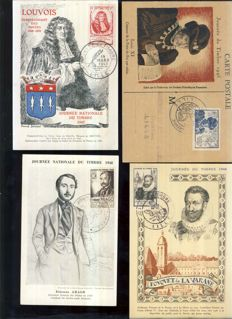 France 1948/1972 - Collection of Maximum FDC Cards on the Theme of Stamp Day