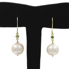 Gold (18 kt) - Earrings - Emeralds, 0.10 ct - Pearls