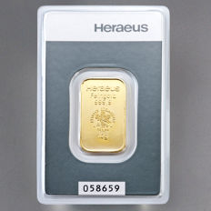 Gold bar, 10 grams, Heraeus - 999 fine gold - with certificate and serial number