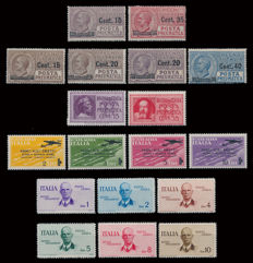 Kingdom of Italy – 1933–1934 – Air mail and pneumatic mail – 5 complete series