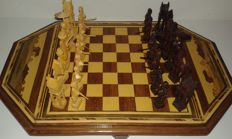 Malagasy carved wooden chess set