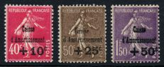 France 1930 – Caisses d'Amortissement, complete series – Yvert no. 266/268