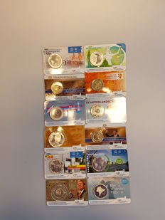 The Netherlands – 2, 5 and 10 Euro coins 2012/2017 (12 different) in coin cards .