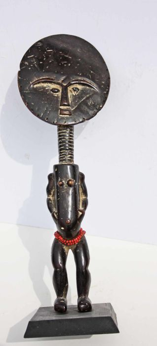 Large African fertility doll statuette - AKUABA - Ghana.