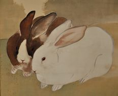 Getsujo Mori 森月城 (1887-1961) Two rabbits - Japan - 1930ies