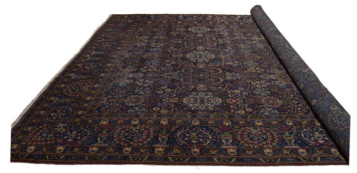(Size: 400 x 300 cm) Very antique YAZD YASD HALI handmade carpet with certificate of authenticity from official appraiser -