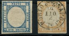 Kingdom - 1861 - 'Vittorio Emanuele II, 2 Gr. blue and 10 Gr. light brown', Sassone 20b and 22