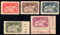 Occupied Territories, 1945, CO.RA.LIT. Cyclist on geographical map of Italy, complete set of 5 stamps.