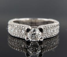 White gold ring, 14 kt, in art deco style  with octagon and old European cut diamond, ring size 17.25 (54)