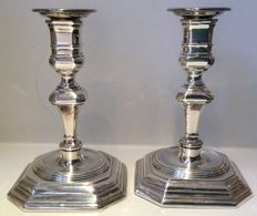 Pair of silver-plated art deco candlesticks - 2nd half of 20th century