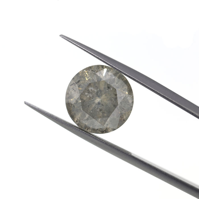 Natural M color I3 7.11 Ct. Round Brilliant cut diamond, No Reserve price.