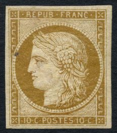 France 1849 – Cérès 10c bistre-yellow, new, signed Maury and Baudot – Yvert no. 1