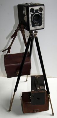 Camera-tripod and two box cameras, first half 20th century