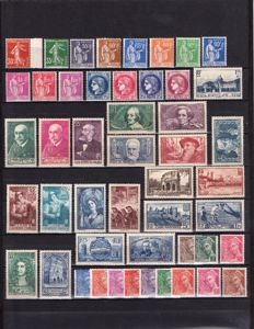 France 1938/1939 – Selection of 82 stamps including complete year 1939 – Yvert no. 360 to 416A to 419/450.