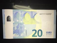 European Union - France - 20 euros 2015 Draghi - MISPRINT - WHITE STRIP on reverse - ERROR NOTE
