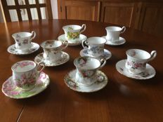 Royal Albert porcelain - 8 cups and saucers - England