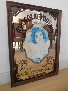 Advertising mirror for Chocolat Poulain from 1960.