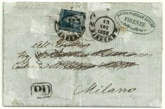 Grand Duchy of Tuscany - 6 cr. - 1855 - indigo on grey paper, cancelled on a letter from Florence to Milan. Sassone no. 7e