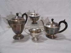 4-piece coffee and tea serving set, art deco style, Sheffield, England. Silver Plated Metal with ebony handles. Circa1930.