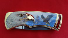 Franklin mint hunting knife with case /  collector's knife eagle with case